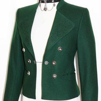 GREEN ~ Loden BOILED WOOL German Women WINTER Walk WARM Sweater JACKET Coat 2 XS