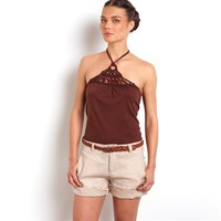 Pure Cotton Slub Halter-Neck Vest Top with Bead Trim