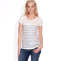 Round-Necked Short-Sleeved Striped T-Shirt with Sequins