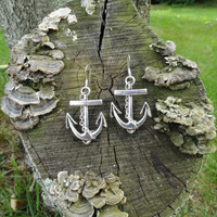 Chain and Anchor Earrings, Chain Earrings, Pendant Earrings, Charm Earrings, Sailor Earrings, Birthday Gift