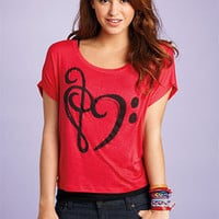 Music-Note Heart Tee