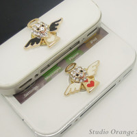 1PC Bling Crystal Angel Alloy Apple iPhone Home Button Sticker for iPhone 4,4s,4g, iPhone 5, iPad, Cell Phone Charm