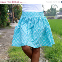 ON SALE Blue Chevron Skirt /Tiffany Blue and White Chevron Skirt / Aqua Chevron Midi Skirt with Pockets / Ready to Ship