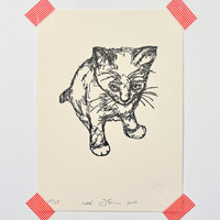 Kitten (drawing in thread)- Letterpressed Print