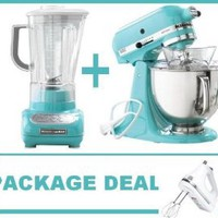 Amazon.com: KitchenAid KSM150PSAQ Artisan Tilt, Tilting model Stand Mixer, Martha Stewart Blue Collection Artisan 5 Qt. Aqua Sky + KitchenAid Martha Stewart Blue Collection 5-Speed Blender and a Free White Kitchenaid hand mixer (FREE GIFT).: Kitchen & Dini