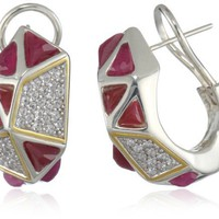 Kara Ross &quot;Pyramid&quot; Ruby and White Sapphires Huggie Earrings