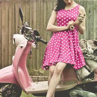 pink spotted cotton dress from ValdenizeSoares