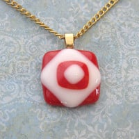 Small Glass Necklace, Red and White Layered Pendant - China - 2416