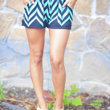 Sands Of Time Chevron Shorts: Teal | Hope's