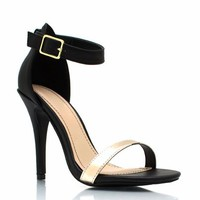 Strappy-Single-Sole-Heels BLACKGOLD BLACKWHITE - GoJane.com