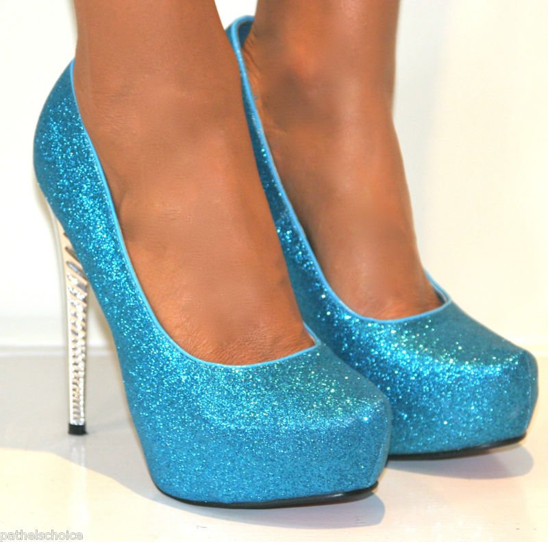 Ladies Turquoise Court Shoes