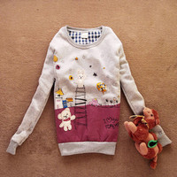 Cute Korean Girls Long Sleeve Cartoon Sweatshirt Crew Neck Outwear Stylish 1BS