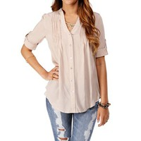 Taupe V Neck Pleated Top
