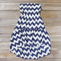 Drifter Chevron Dress in Navy, Sweet Women's Bohemian Clothing