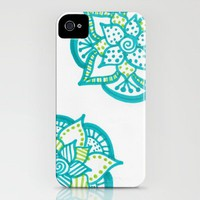 Blue and Green Flowers iPhone Case by Kayla Gordon | Society6