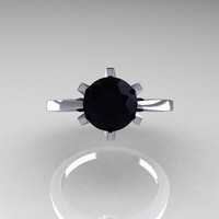 French 950 Platinum 1.5 Carat Black Diamond Designer Solitaire Engagement Ring R151-PLATBD