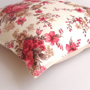 pink floral print pillow cover,decorative throw pillow cover- floral pillow cover - 16x16 inch pillow cover