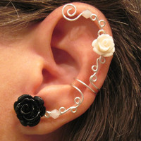 "No Piercing Cartilage Ear Cuff  ""Roses are Harlequin"" Conch Cuff Silver tone Prom Bridesmaids"