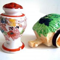 Vintage Salt and Pepper Shakers Vase and Wheelbarrow Made in Japan by GentlyLovedTreasures