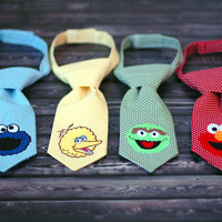 Little Guy Tie - Sesame Street Cookie Monster Tie - Pre-Tied with Adjustable Velcro Closure - Infant through 8 Years