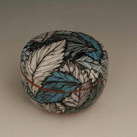 Round Black Box with Blue Leaves by Farraday Newsome: Ceramic Box - Artful Home
