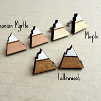 Mountains Alpine Triangles Laser Cut from Australian Tallowwood and hand painted snow peaks