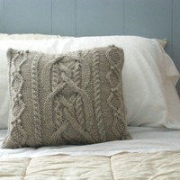 Cable Knit Pillow Sham in Wool
