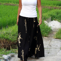 ON SALE Black and Brown Woman Printed Long Maxi Skirt with Two Pockets / Summer Fashion Skirt