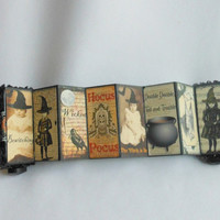Altered Domino Accordion Book, Unique Tiny Treasure with Halloween Theme