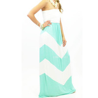 Pippa Mint Chevron Maxi Dress