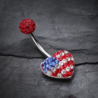 American Flag Tiffany Inspired Multi Gem Belly Button Ring
