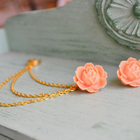 Large Tangerine Flower Triple Gold Chain Ear by oflovelythings