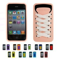Apple iPhone 4S NEAKER Silicone Skin Case Cover+Two Shoelaces + Free Front &amp; Back Screen Protector Set (Many Colors Available)