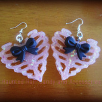Ribcage Heart Skeleton Earrings