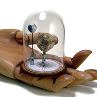 MIniature Earth and Moon, Under Glass