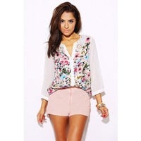 Ivory floral bejeweled stud lace collar blouse - Tops