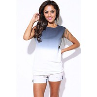 Gray ombre bejeweled chain open back tie dye tunic top
