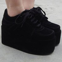 Chunky Wedge Brothel Creepers - Black Suede from Fashion Thirsty