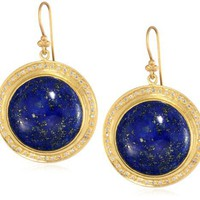 Lauren Harper Collection Deep Waters 18k Gold, Lapis and Diamond Round Earrings