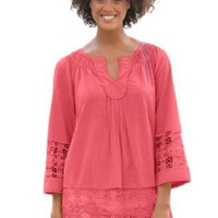 Amazon.com: Plus Size Top, Peasant Style With Crochet Details: Clothing