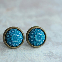 "Emerald Flowers  """" green petrol white flower Cabochon Earrings"