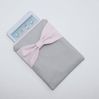 iPad Mini, Kindle, Nook, eReader Case - Gray with Light Pink Bow - Padded
