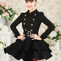 New Women Wool Dress Coat Stand-up Double-breasted Slim Belted Cool Long Jacket