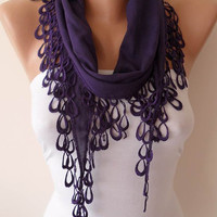 Lightweight Summer Scarf  - Purple Scarf with Trim Edge