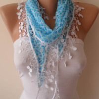 Lightweight Summer Scarf  - Light Blue Scarf with White Trim Edge