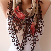 Lightweight Summer Scarf  - Coral Beige and Brown Scarf with Beige Trim Edge