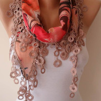 Gift Scarf - Summer Scarf  - Coral Pink and Brown Scarf with Beige Trim Edge