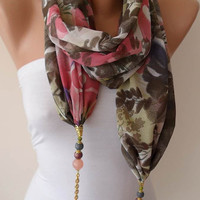 Rose Pink and Gray - Jewelry Scarf - Chiffon Fabric with Beads and Chain