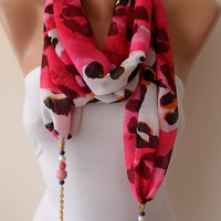 Pink Leopard - Jewelry Scarf - Chiffon Fabric with Beads and Chain