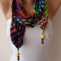Multi Color - Jewelry Scarf - Chiffon Fabric with Beads and Chain